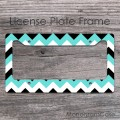 Black , white and aqua blue chevron license plate frame